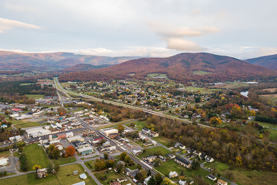 Contact - Aerial View Of Small Town In Shenandoah Valley Virginia